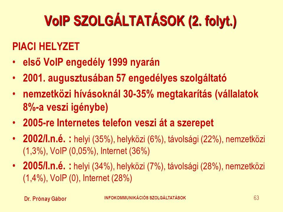 Dr. Prónay Gábor INFOKOMMUNIKÁCIÓS SZOLGÁLTATÁSOK 63 VoIP SZOLGÁLTATÁSOK (2. folyt.) PIACI HELYZET • első VoIP engedély 1999 nyarán • 2001. augusztusá