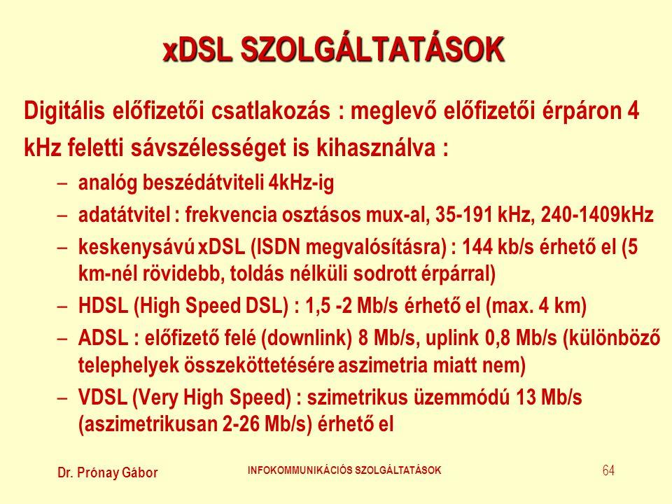 Dr. Prónay Gábor INFOKOMMUNIKÁCIÓS SZOLGÁLTATÁSOK 64 xDSL SZOLGÁLTATÁSOK Digitális előfizetői csatlakozás : meglevő előfizetői érpáron 4 kHz feletti s