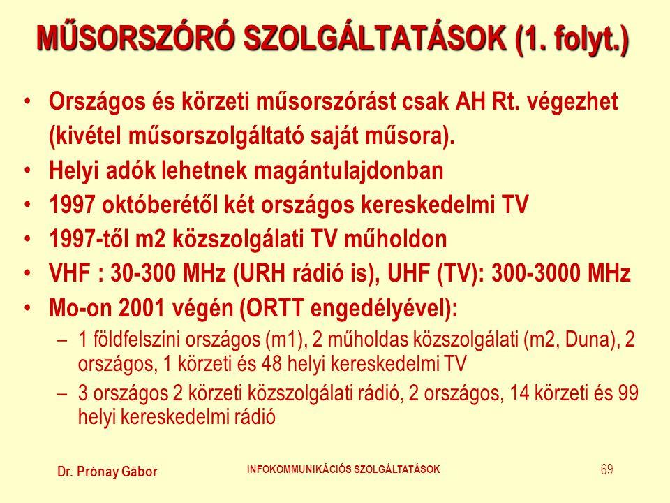 Dr. Prónay Gábor INFOKOMMUNIKÁCIÓS SZOLGÁLTATÁSOK 69 MŰSORSZÓRÓ SZOLGÁLTATÁSOK (1. folyt.) • Országos és körzeti műsorszórást csak AH Rt. végezhet (ki