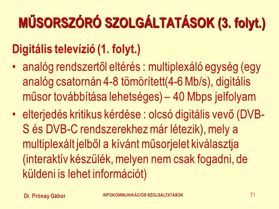 Dr. Prónay Gábor INFOKOMMUNIKÁCIÓS SZOLGÁLTATÁSOK 71 MŰSORSZÓRÓ SZOLGÁLTATÁSOK (3. folyt.) Digitális televízió (1. folyt.) •analóg rendszertől eltérés