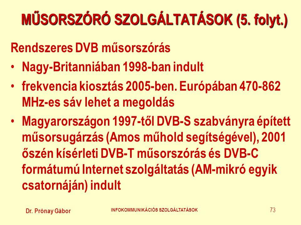 Dr. Prónay Gábor INFOKOMMUNIKÁCIÓS SZOLGÁLTATÁSOK 73 MŰSORSZÓRÓ SZOLGÁLTATÁSOK (5. folyt.) Rendszeres DVB műsorszórás • Nagy-Britanniában 1998-ban ind