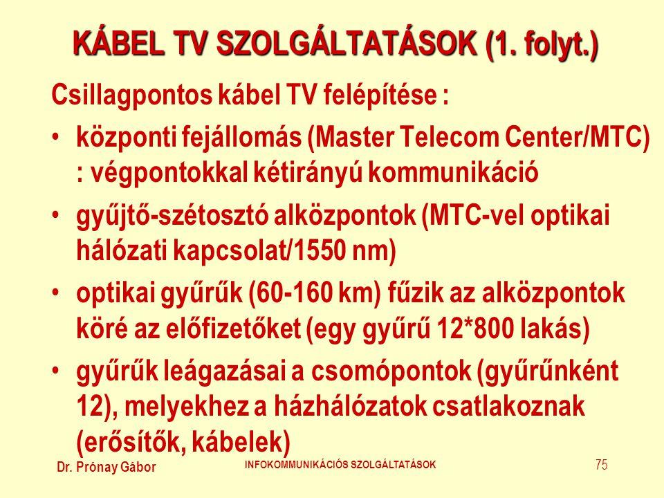 Dr. Prónay Gábor INFOKOMMUNIKÁCIÓS SZOLGÁLTATÁSOK 75 KÁBEL TV SZOLGÁLTATÁSOK (1. folyt.) Csillagpontos kábel TV felépítése : • központi fejállomás (Ma