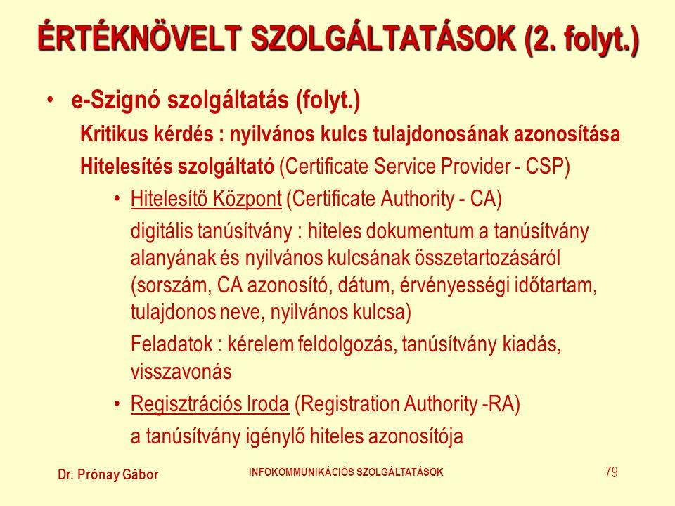Dr. Prónay Gábor INFOKOMMUNIKÁCIÓS SZOLGÁLTATÁSOK 79 ÉRTÉKNÖVELT SZOLGÁLTATÁSOK (2. folyt.) • e-Szignó szolgáltatás (folyt.) Kritikus kérdés : nyilván