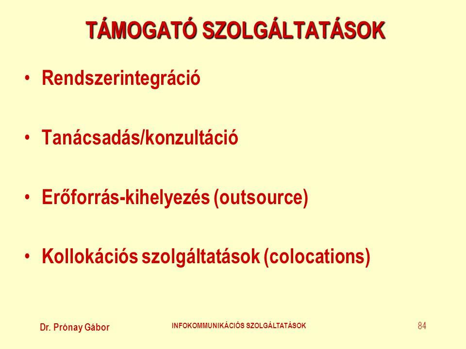 Dr. Prónay Gábor INFOKOMMUNIKÁCIÓS SZOLGÁLTATÁSOK 84 TÁMOGATÓ SZOLGÁLTATÁSOK • Rendszerintegráció • Tanácsadás/konzultáció • Erőforrás-kihelyezés (out