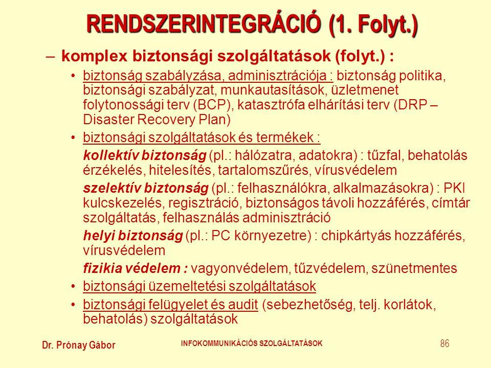 Dr. Prónay Gábor INFOKOMMUNIKÁCIÓS SZOLGÁLTATÁSOK 86 RENDSZERINTEGRÁCIÓ (1. Folyt.) –komplex biztonsági szolgáltatások (folyt.) : •biztonság szabályzá