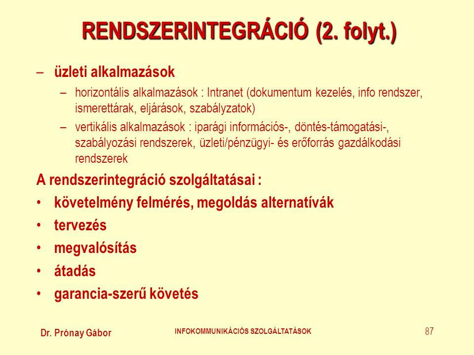 Dr. Prónay Gábor INFOKOMMUNIKÁCIÓS SZOLGÁLTATÁSOK 87 RENDSZERINTEGRÁCIÓ (2. folyt.) – üzleti alkalmazások –horizontális alkalmazások : Intranet (dokum