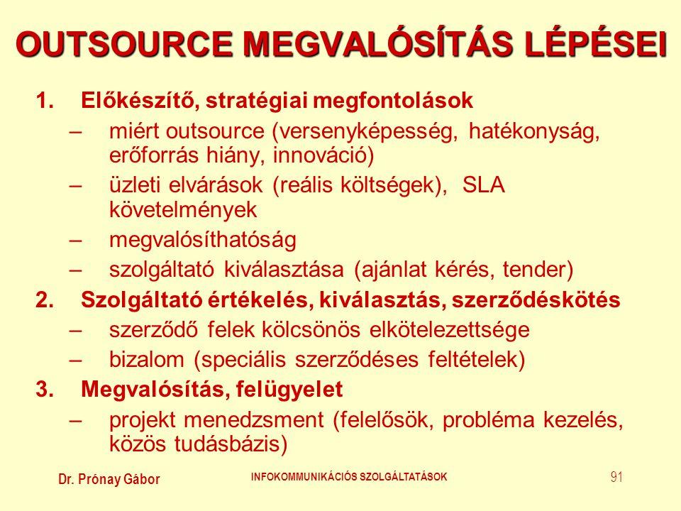 Dr. Prónay Gábor INFOKOMMUNIKÁCIÓS SZOLGÁLTATÁSOK 91 OUTSOURCE MEGVALÓSÍTÁS LÉPÉSEI 1.Előkészítő, stratégiai megfontolások –miért outsource (versenyké