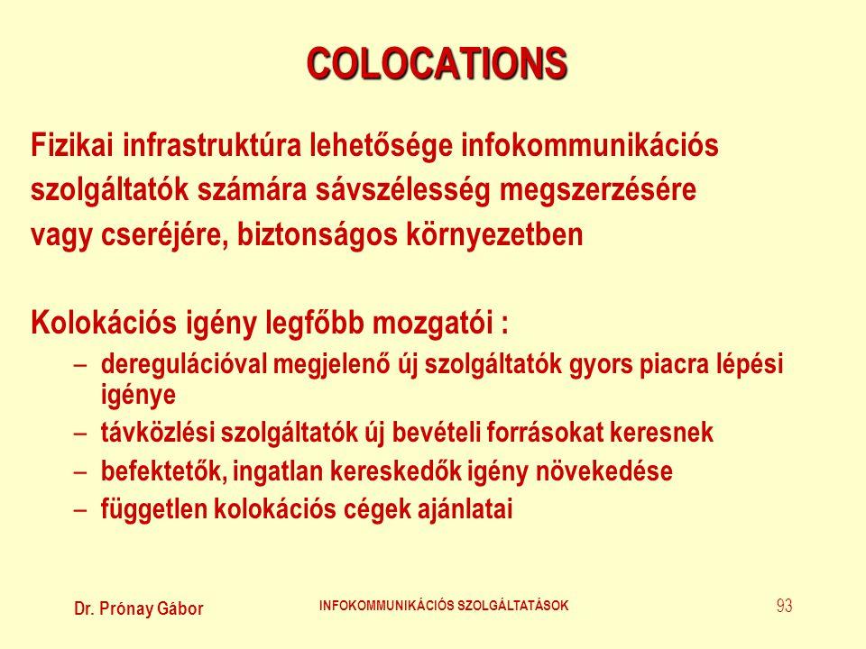 Dr. Prónay Gábor INFOKOMMUNIKÁCIÓS SZOLGÁLTATÁSOK 93 COLOCATIONS Fizikai infrastruktúra lehetősége infokommunikációs szolgáltatók számára sávszélesség