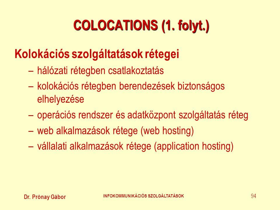 Dr. Prónay Gábor INFOKOMMUNIKÁCIÓS SZOLGÁLTATÁSOK 94 COLOCATIONS (1. folyt.) Kolokációs szolgáltatások rétegei –hálózati rétegben csatlakoztatás –kolo