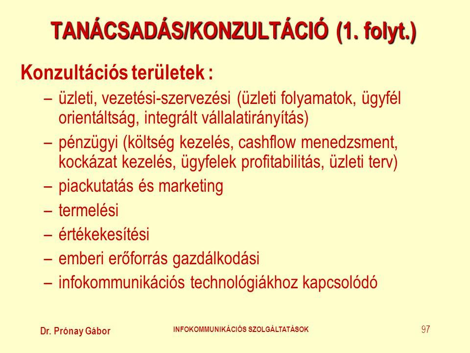 Dr. Prónay Gábor INFOKOMMUNIKÁCIÓS SZOLGÁLTATÁSOK 97 TANÁCSADÁS/KONZULTÁCIÓ (1. folyt.) Konzultációs területek : –üzleti, vezetési-szervezési (üzleti