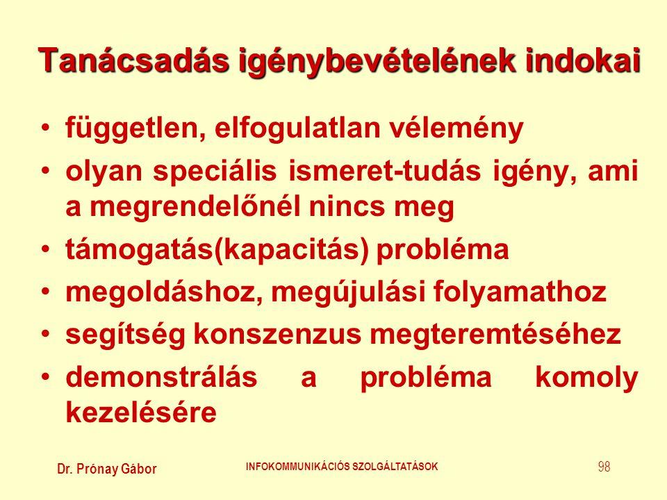 Dr. Prónay Gábor INFOKOMMUNIKÁCIÓS SZOLGÁLTATÁSOK 98 Tanácsadás igénybevételének indokai •független, elfogulatlan vélemény •olyan speciális ismeret-tu