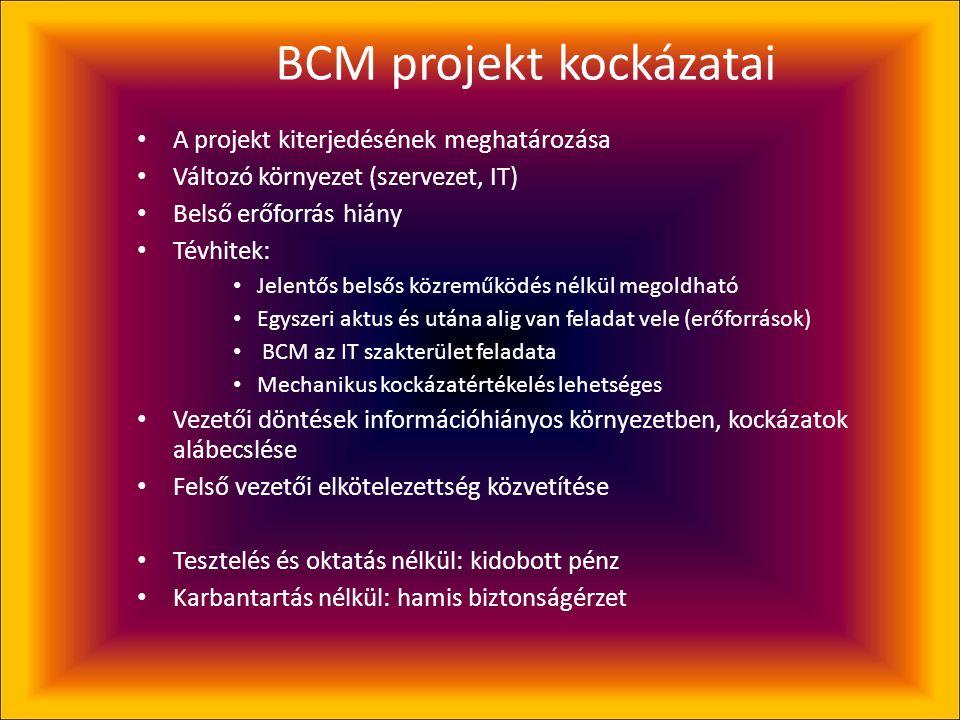 A BCP projekt menete • IT biztonsági átvilágítás (célszerű elem) • Üzleti hatáselemzés (BIA) • A BCP kidolgozása • Bevezetés • Tesztelés • Oktatás • K