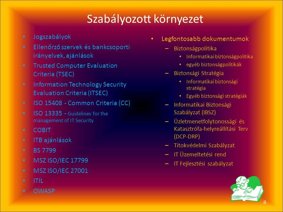 7 Információbiztonság és szabályozott környezet • Üzletpolitika • Biztonságpolitika • Biztonsági Stratégia • Magas szintű belső szabályozások • Alacso