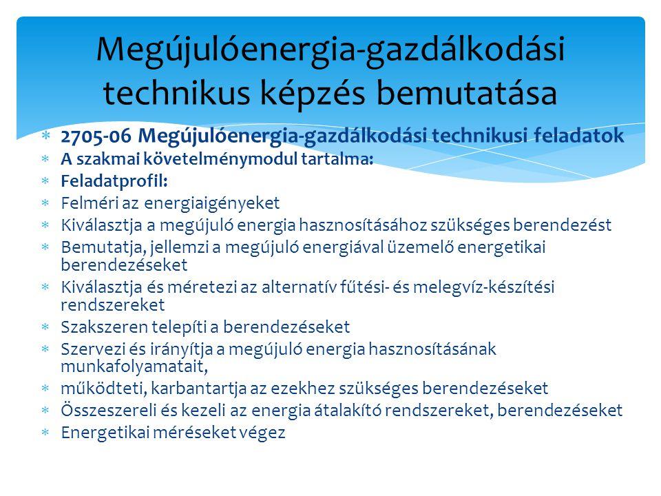  2705-06 Megújulóenergia-gazdálkodási technikusi feladatok  A szakmai követelménymodul tartalma:  Feladatprofil:  Felméri az energiaigényeket  Kiválasztja a megújuló energia hasznosításához szükséges berendezést  Bemutatja, jellemzi a megújuló energiával üzemelő energetikai berendezéseket  Kiválasztja és méretezi az alternatív fűtési- és melegvíz-készítési rendszereket  Szakszeren telepíti a berendezéseket  Szervezi és irányítja a megújuló energia hasznosításának munkafolyamatait,  működteti, karbantartja az ezekhez szükséges berendezéseket  Összeszereli és kezeli az energia átalakító rendszereket, berendezéseket  Energetikai méréseket végez Megújulóenergia-gazdálkodási technikus képzés bemutatása