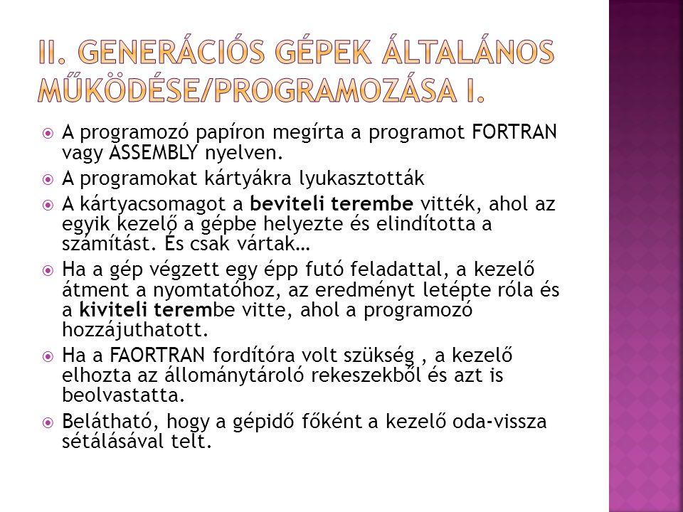  A programozó papíron megírta a programot FORTRAN vagy ASSEMBLY nyelven.  A programokat kártyákra lyukasztották  A kártyacsomagot a beviteli teremb