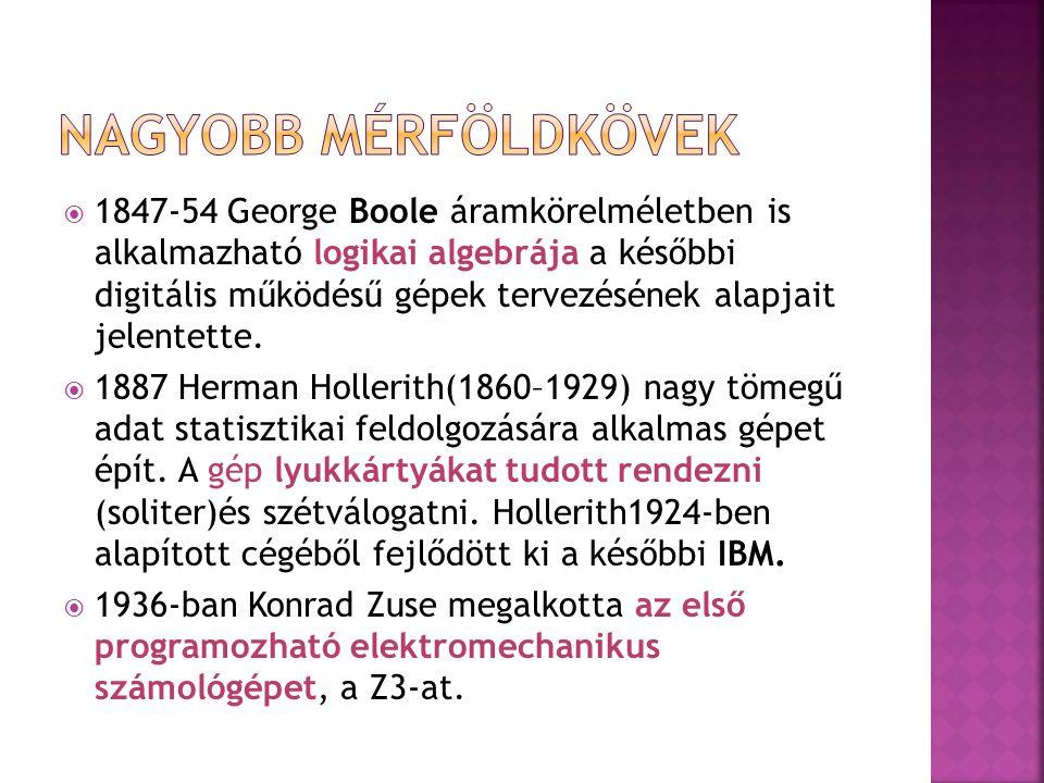  1847-54 George Boole áramkörelméletben is alkalmazható logikai algebrája a későbbi digitális működésű gépek tervezésének alapjait jelentette.  1887