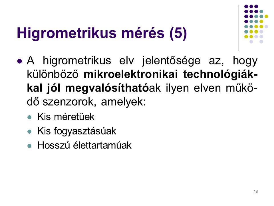 18 Higrometrikus mérés (5)  A higrometrikus elv jelentősége az, hogy különböző mikroelektronikai technológiák- kal jól megvalósíthatóak ilyen elven m