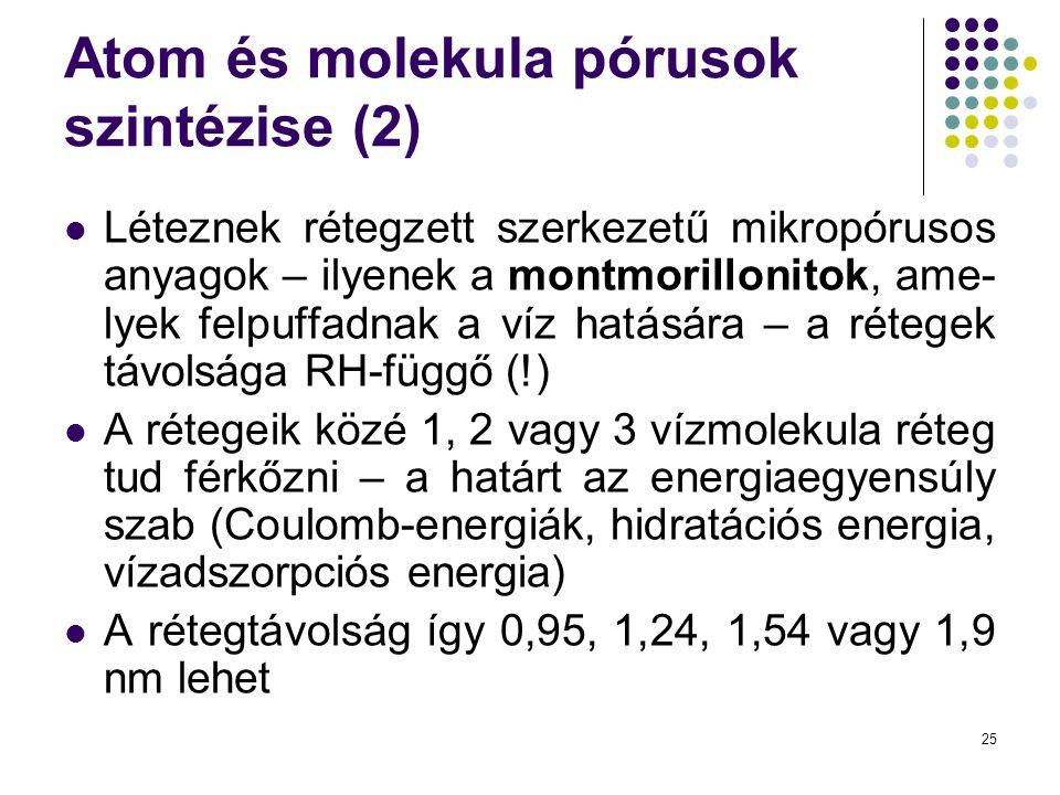 25 Atom és molekula pórusok szintézise (2)  Léteznek rétegzett szerkezetű mikropórusos anyagok – ilyenek a montmorillonitok, ame- lyek felpuffadnak a