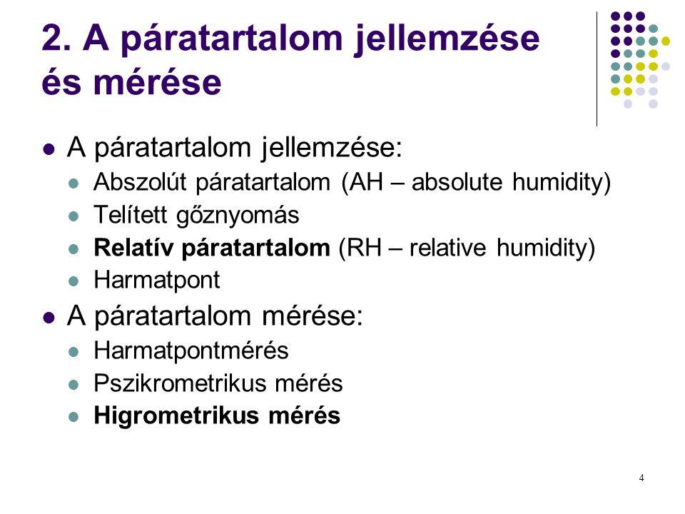 4 2. A páratartalom jellemzése és mérése  A páratartalom jellemzése:  Abszolút páratartalom (AH – absolute humidity)  Telített gőznyomás  Relatív