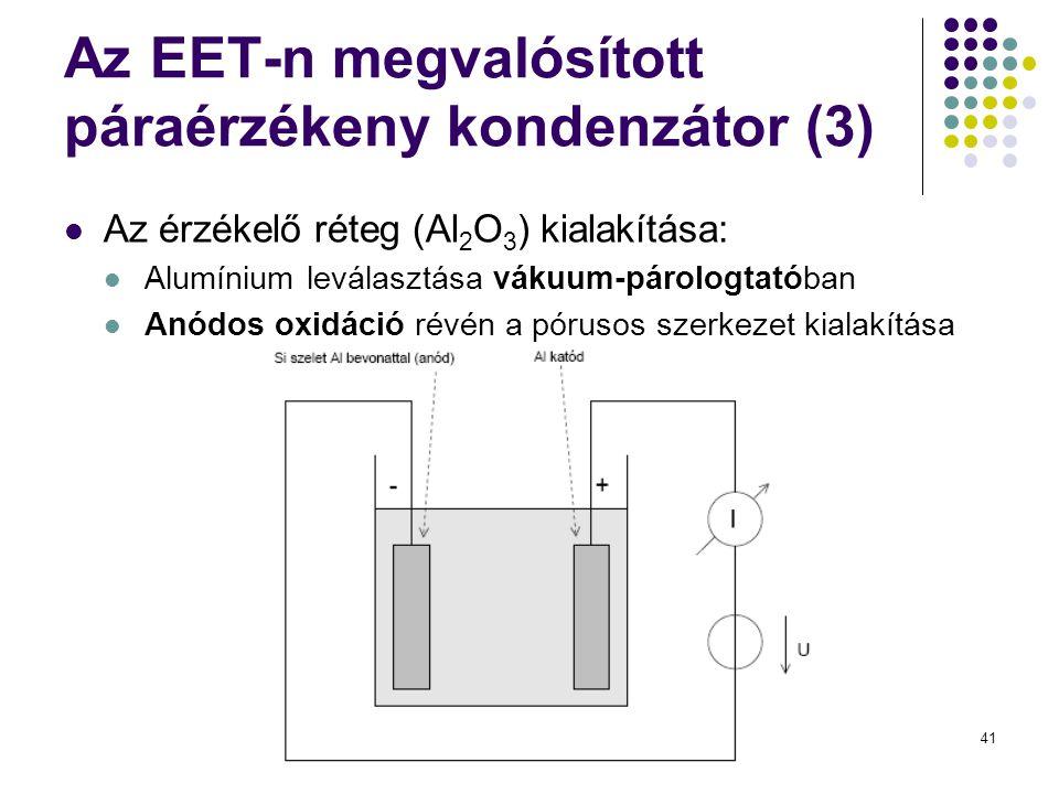 41 Az EET-n megvalósított páraérzékeny kondenzátor (3)  Az érzékelő réteg (Al 2 O 3 ) kialakítása:  Alumínium leválasztása vákuum-párologtatóban  Anódos oxidáció révén a pórusos szerkezet kialakítása