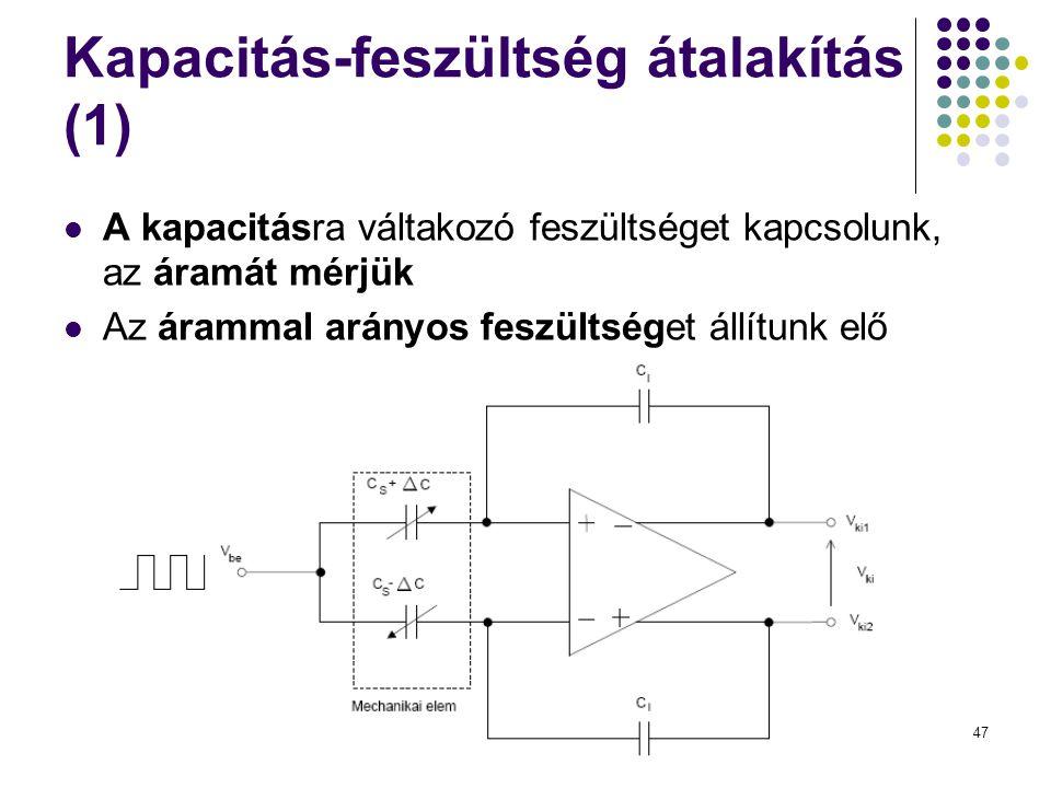 47 Kapacitás-feszültség átalakítás (1)  A kapacitásra váltakozó feszültséget kapcsolunk, az áramát mérjük  Az árammal arányos feszültséget állítunk