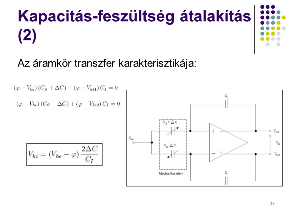 48 Kapacitás-feszültség átalakítás (2) Az áramkör transzfer karakterisztikája: