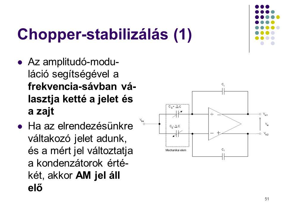 51 Chopper-stabilizálás (1)  Az amplitudó-modu- láció segítségével a frekvencia-sávban vá- lasztja ketté a jelet és a zajt  Ha az elrendezésünkre váltakozó jelet adunk, és a mért jel változtatja a kondenzátorok érté- két, akkor AM jel áll elő
