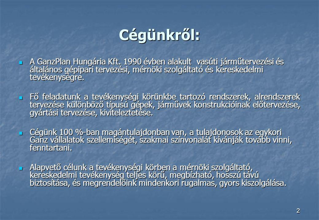 2 Cégünkről:  A GanzPlan Hungária Kft. 1990 évben alakult vasúti járműtervezési és általános gépipari tervezési, mérnöki szolgáltató és kereskedelmi