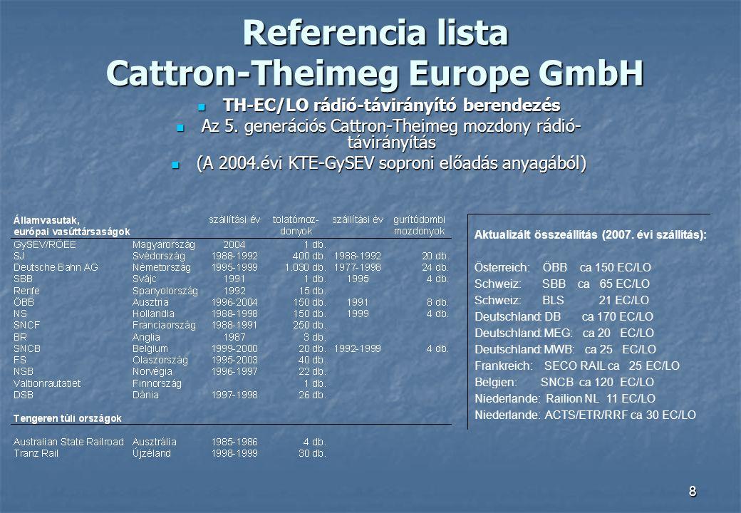 8 Referencia lista Cattron-Theimeg Europe GmbH  TH-EC/LO rádió-távirányító berendezés  Az 5. generációs Cattron-Theimeg mozdony rádió- távirányítás