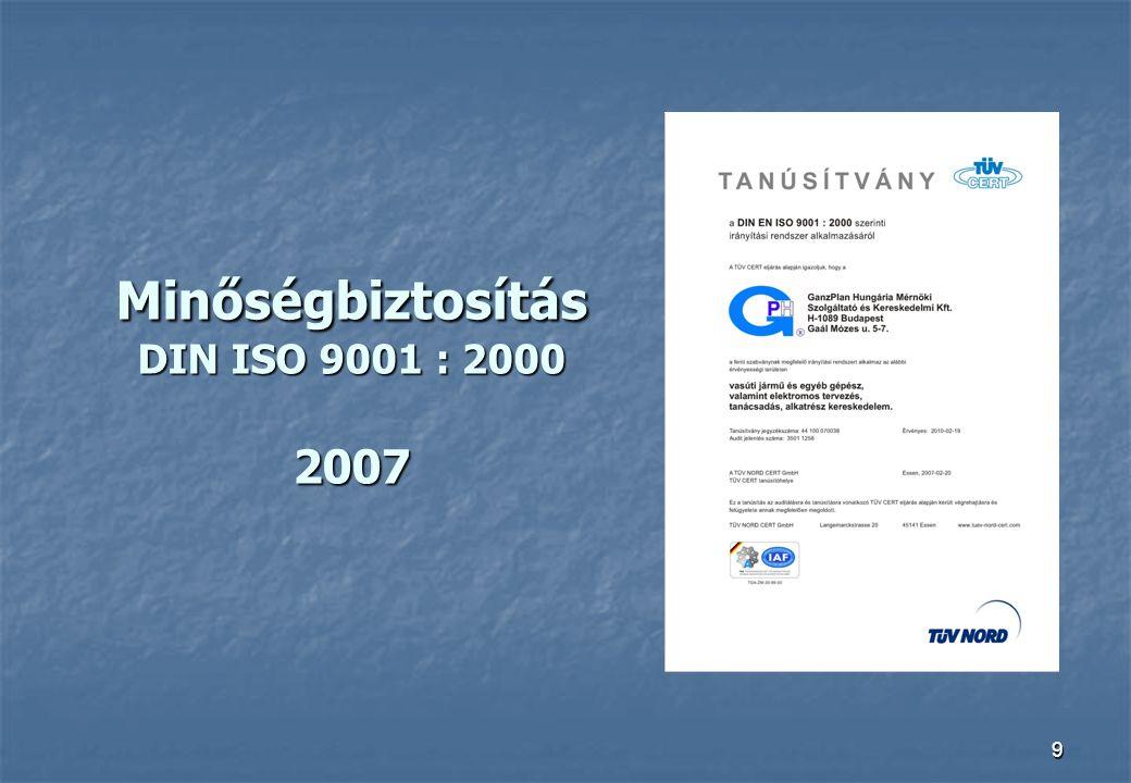9 Minőségbiztosítás DIN ISO 9001 : 2000 2007