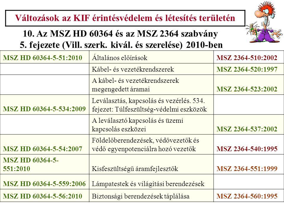 Változások az KIF érintésvédelem és létesítés területén 10. Az MSZ HD 60364 és az MSZ 2364 szabvány 5. fejezete (Vill. szerk. kivál. és szerelése) 201