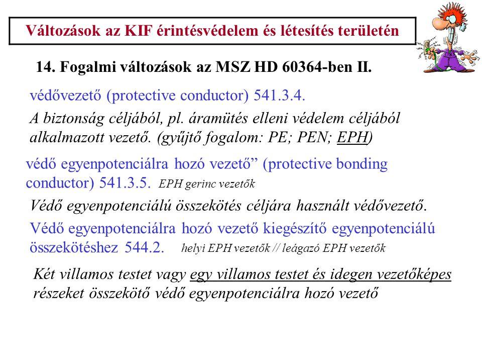 Változások az KIF érintésvédelem és létesítés területén 14. Fogalmi változások az MSZ HD 60364-ben II. A biztonság céljából, pl. áramütés elleni védel