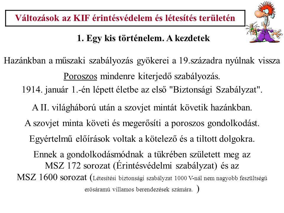 Változások az KIF érintésvédelem és létesítés területén 2.