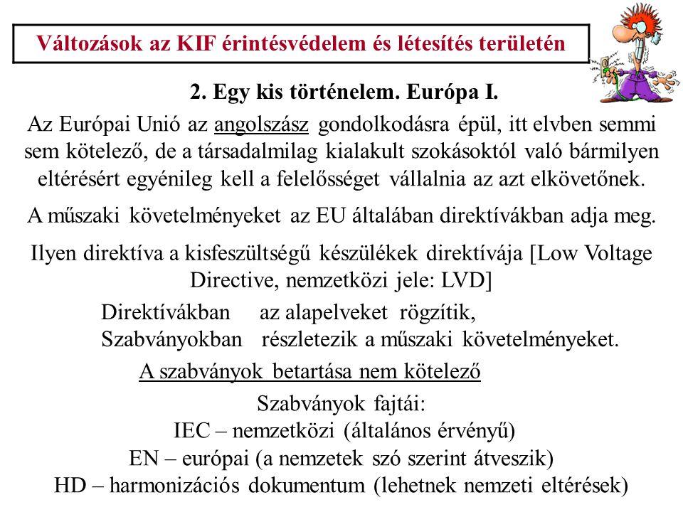 Változások az KIF érintésvédelem és létesítés területén 2. Egy kis történelem. Európa I. Az Európai Unió az angolszász gondolkodásra épül, itt elvben