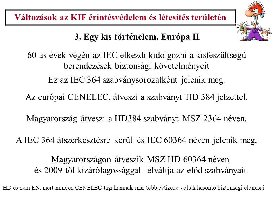 Változások az KIF érintésvédelem és létesítés területén 3. Egy kis történelem. Európa II. 60-as évek végén az IEC elkezdi kidolgozni a kisfeszültségű