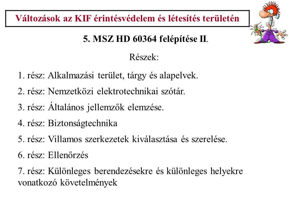 Változások az KIF érintésvédelem és létesítés területén 6.