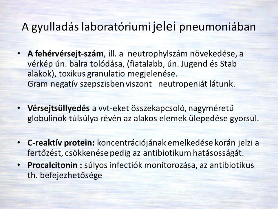 A gyulladás laboratóriumi jelei pneumoniában • A fehérvérsejt-szám, ill. a neutrophylszám növekedése, a vérkép ún. balra tolódása, (fiatalabb, ún. Jug