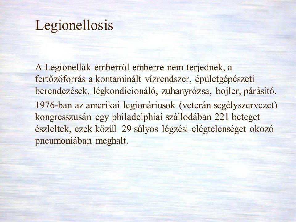 Legionellosis A Legionellák emberről emberre nem terjednek, a fertőzőforrás a kontaminált vízrendszer, épületgépészeti berendezések, légkondicionáló,