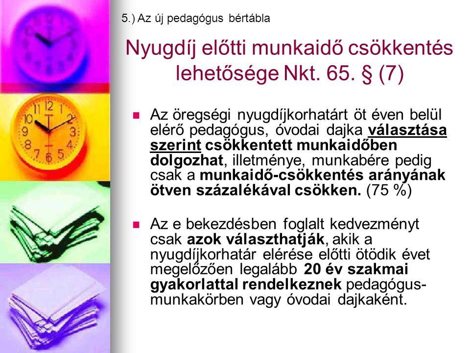 Nyugdíj előtti munkaidő csökkentés lehetősége Nkt. 65. § (7)   Az öregségi nyugdíjkorhatárt öt éven belül elérő pedagógus, óvodai dajka választása s