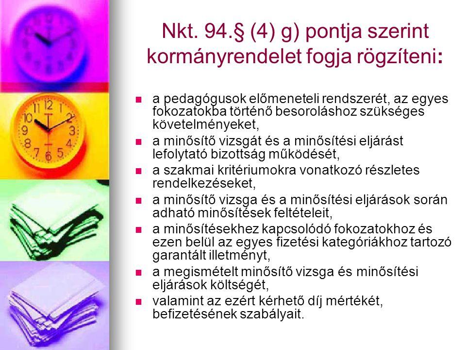 Nkt. 94.§ (4) g) pontja szerint kormányrendelet fogja rögzíteni:   a pedagógusok előmeneteli rendszerét, az egyes fokozatokba történő besoroláshoz s