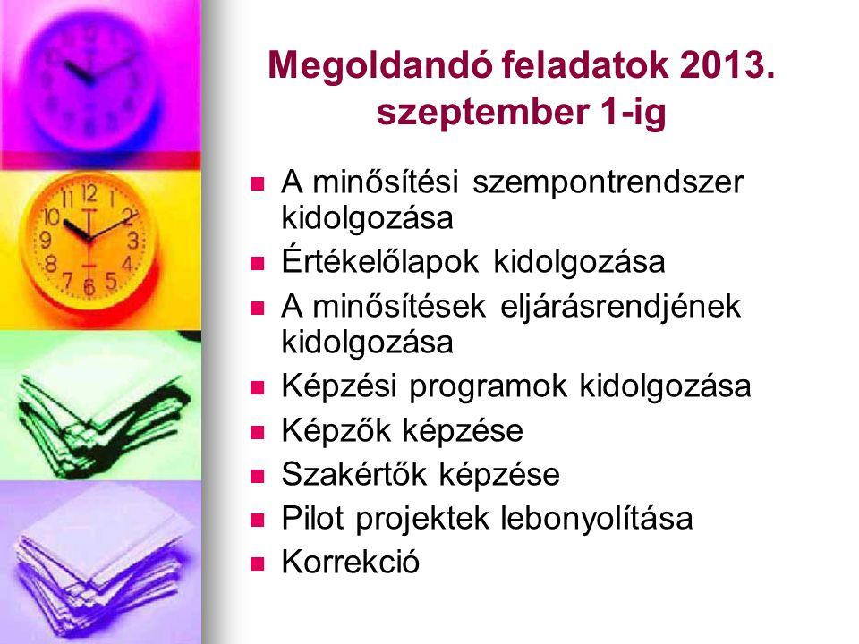 Megoldandó feladatok 2013. szeptember 1-ig   A minősítési szempontrendszer kidolgozása   Értékelőlapok kidolgozása   A minősítések eljárásrendjé
