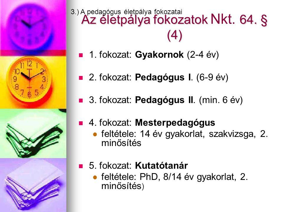 Az életpálya fokozatok 64. § (4) Az életpálya fokozatok Nkt. 64. § (4)   1. fokozat: Gyakornok (2-4 év)   2. fokozat: Pedagógus I. (6-9 év)   3.