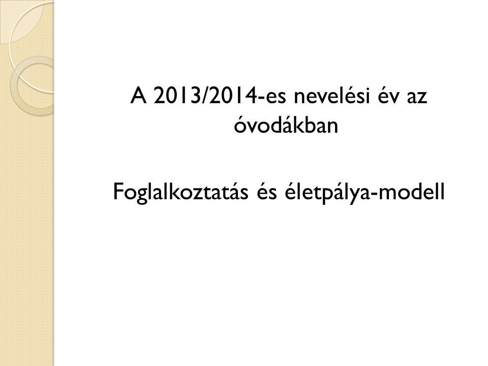A 2013/2014-es nevelési év az óvodákban Foglalkoztatás és életpálya-modell