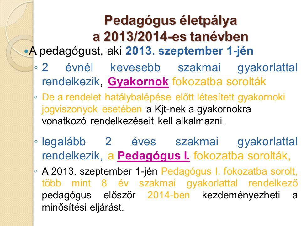 Pedagógus életpálya a 2013/2014-es tanévben  A pedagógust, aki 2013. szeptember 1-jén ◦ 2 évnél kevesebb szakmai gyakorlattal rendelkezik, Gyakornok