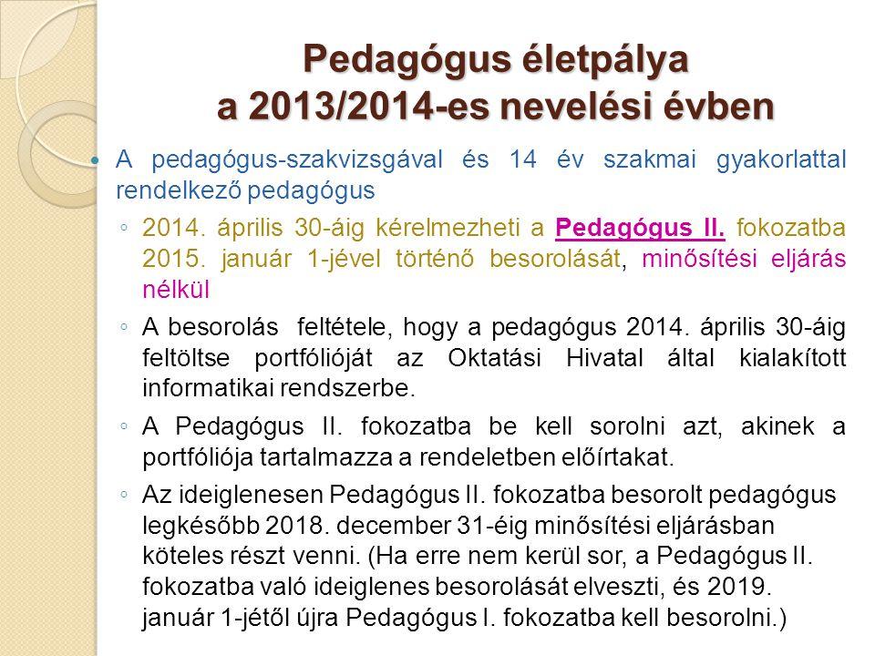 Pedagógus életpálya a 2013/2014-es nevelési évben  A pedagógus-szakvizsgával és 14 év szakmai gyakorlattal rendelkező pedagógus ◦ 2014. április 30-ái