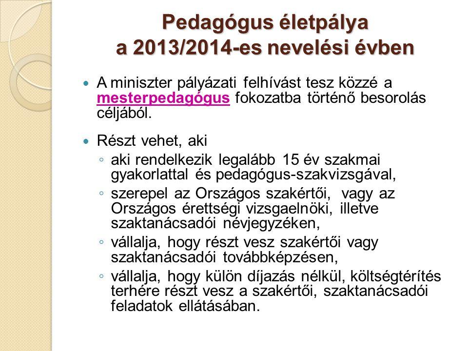 Pedagógus életpálya a 2013/2014-es nevelési évben  A miniszter pályázati felhívást tesz közzé a mesterpedagógus fokozatba történő besorolás céljából.