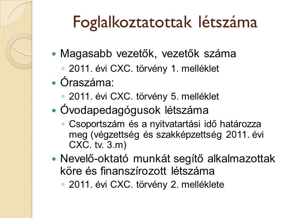 Foglalkoztatottak létszáma  Magasabb vezetők, vezetők száma ◦ 2011. évi CXC. törvény 1. melléklet  Óraszáma: ◦ 2011. évi CXC. törvény 5. melléklet 