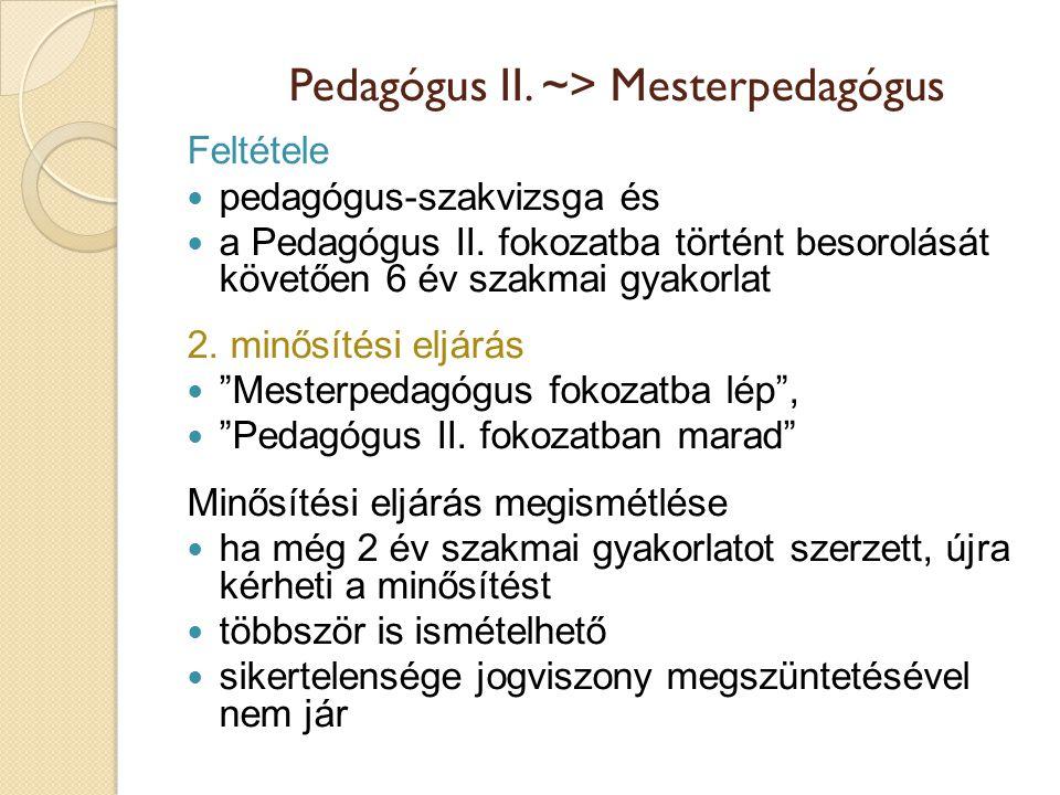 Pedagógus II. ~> Mesterpedagógus Feltétele  pedagógus-szakvizsga és  a Pedagógus II. fokozatba történt besorolását követően 6 év szakmai gyakorlat 2