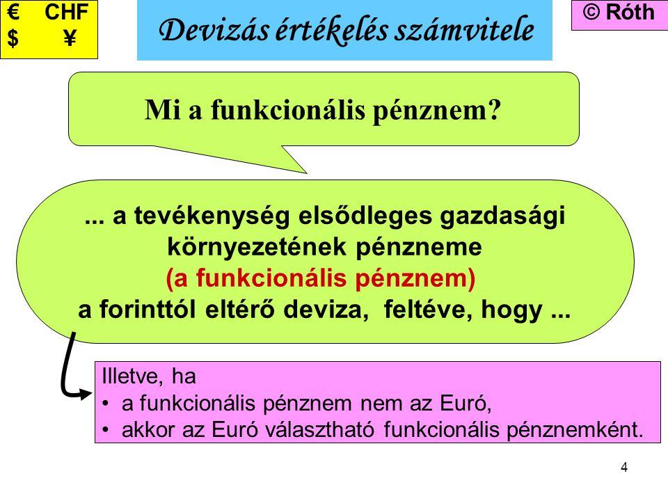 4 Devizás értékelés számvitele © Róth Mi a funkcionális pénznem?... a tevékenység elsődleges gazdasági környezetének pénzneme (a funkcionális pénznem)