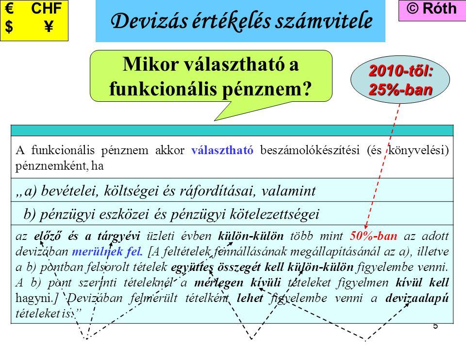 5 Devizás értékelés számvitele © Róth€ CHF $ \ Mikor választható a funkcionális pénznem? A funkcionális pénznem akkor választható beszámolókészítési (